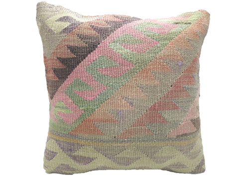 Vintage Pastel Turkish Kilim Pillow With Geometric Wave Pattern