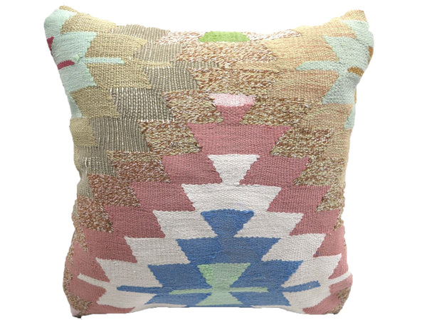 Vintage Pastel Turkish Kilim Pillow With Geometric Pattern