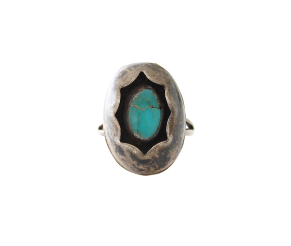 Vintage Navajo Native American Shadow Box Turquoise Ring