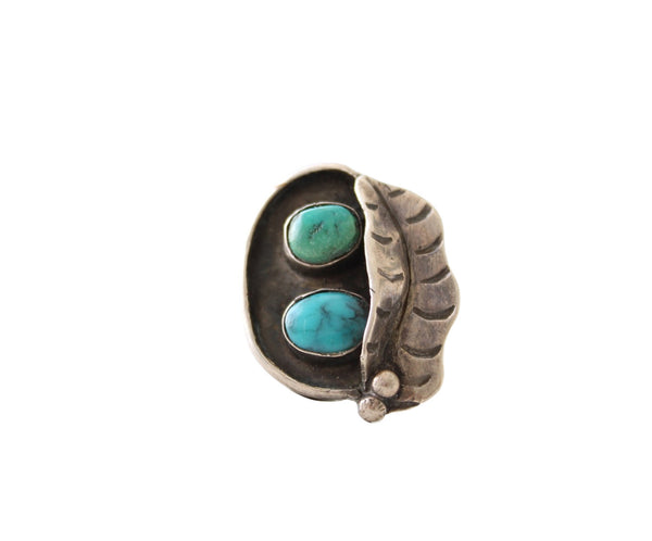 Vintage Native American Two-Tone Turquoise Feather Detail Ring