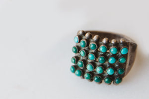 Vintage Turquoise & Silver Zuni Style Native American Ring