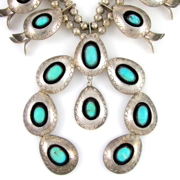 Signed Vintage Navajo Shadowbox Silver & Turquoise Squash Blossom Necklace