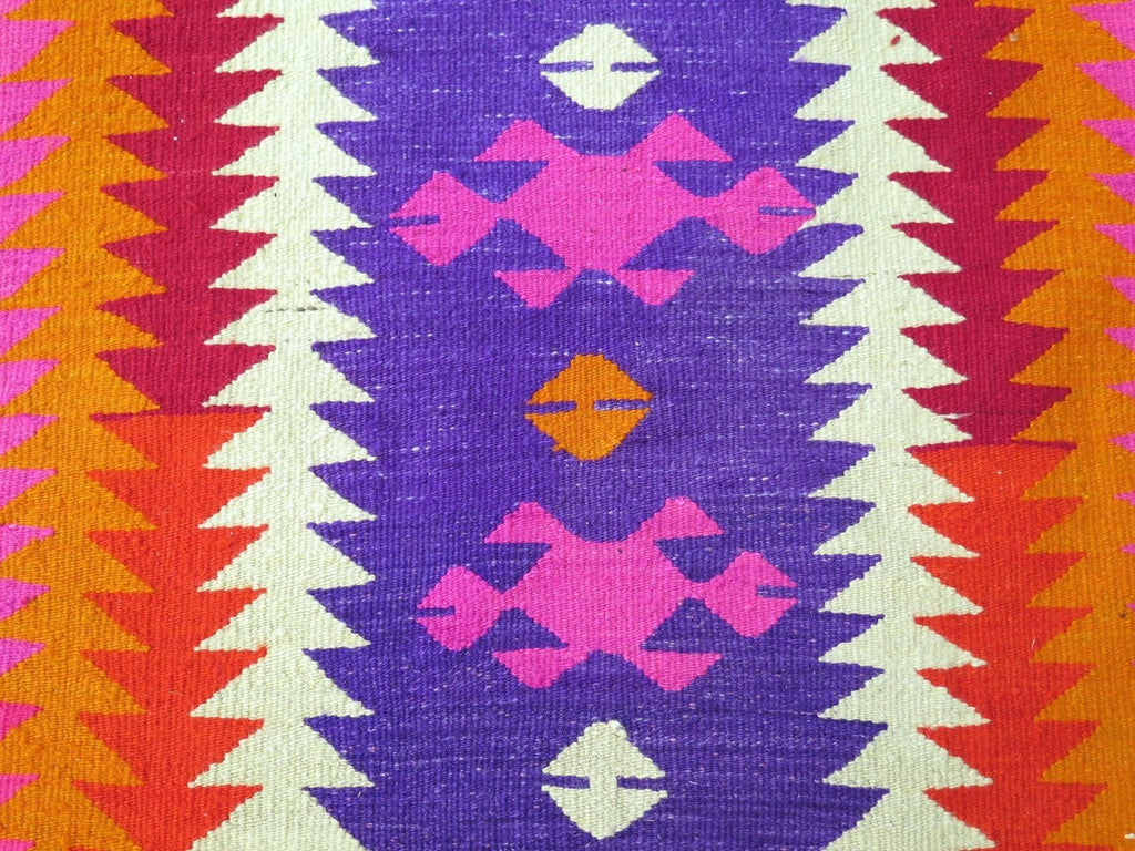 Fantastic Handwoven Turkish Kilim Rug in Bright Neon Colors: Hot Pink, Red  HS33