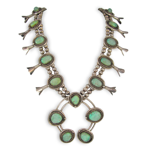 NAVAJO STERLING SILVER & STONE MOUNTAIN TURQUOISE SQUASH BLOSSOM NECKLACE