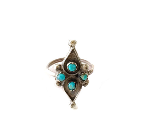 VINTAGE DAINTY TURQUOISE & SILVER GEOMETRIC ZUNI STYLE RING