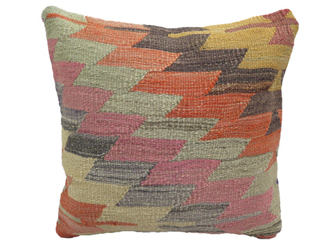 Vintage Pastel Zig Zag Turkish Kilim Pillow
