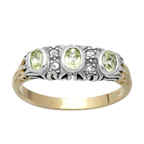 bague en peridot art deco or