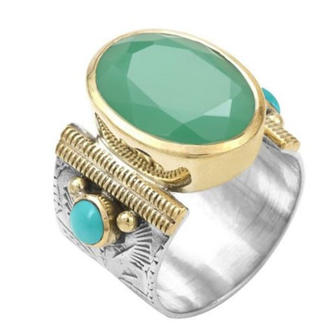 Bague Ovale Canyon Chrysoprase