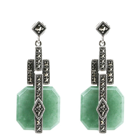 boucles jade style ancien argent
