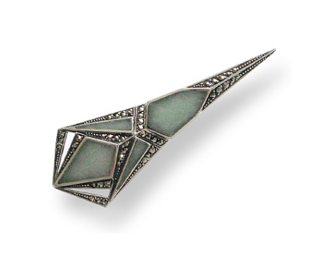 broche jade art deco