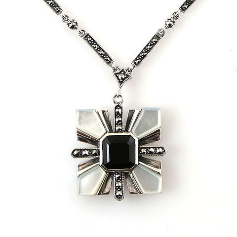 collier nacre spinelle noire art deco