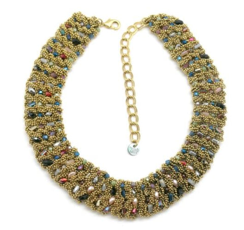 collier crochet moonc laiton doré