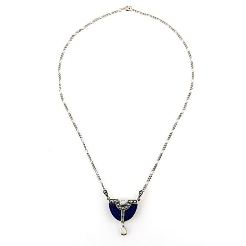 art deco silver neckless with stones