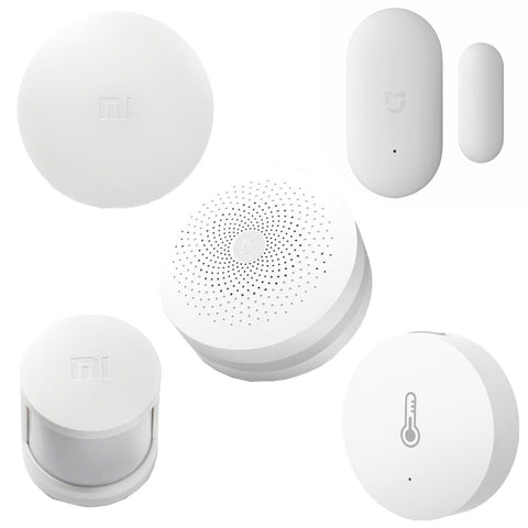 5 in 1 Original Xiaomi Intelligent Multifunctional Gateway Upgraded Version + Original Xiaomi Intelligent + Original Xiaomi Intelligent Temperature Humidity Sensor for Xiaomi Smart Home Suite Devices, Support Android 4.0 and IOS 7.0 Above