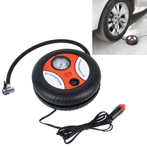 Buy Online  12V 10A Tire Shape Air Pump with Gauge and Three Nozzle Adapters Tire Inflator Compressor for Cars Vans Air Mattress Balls 250 PSI 25L/min Car Accessories - MEGA Discount Online Store Ghana
