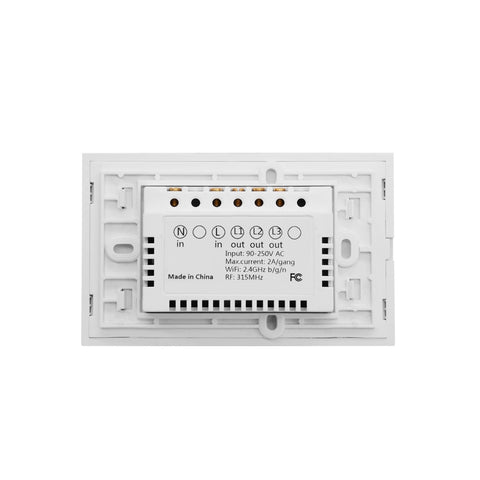 WS-US-03 EWeLink APP & Touch Control 2A 3 Gangs 3 Ways Tempered Glass Panel  Smart Wall Switch, AC 90V-250V, US Plug