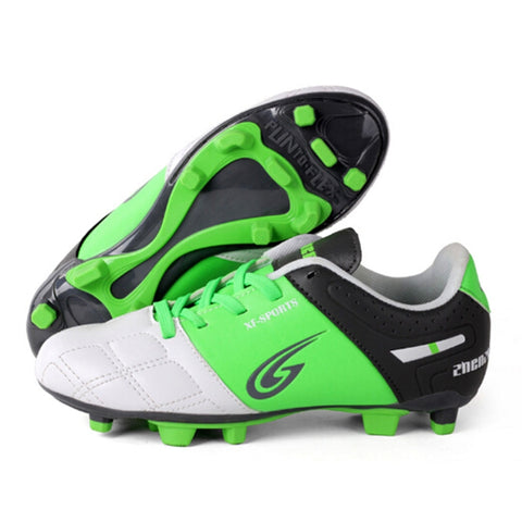 Zhenzu Outdoor Sporting Professional Training PU Children Football Shoes,(Green)