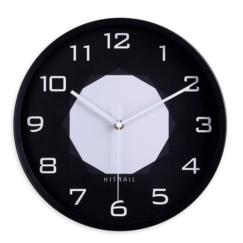 Home Office Modern Silent Non Ticking Baking Finish 12 inch Round Wall Quartz Clock (Black)