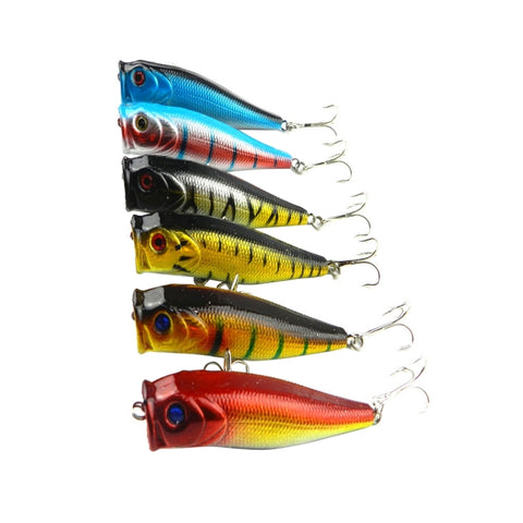 HENGJIA Plastic Artificial Fishing Lures Popper Bionic Fishing Bait with Hooks, Length: 9 cm, Random Color Delivery