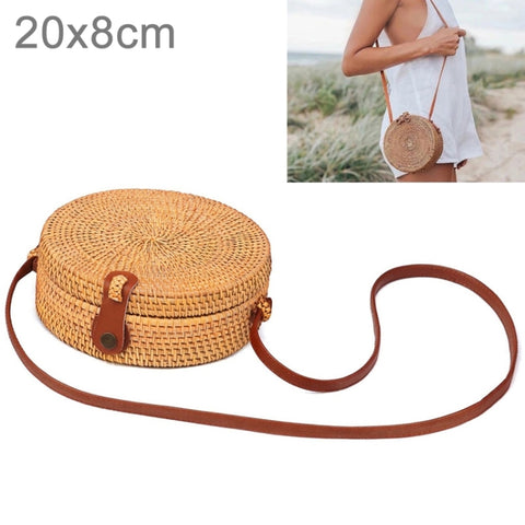 Leather Buckle Bowknot Pattern Autumn Rattan Handmade Rattan Bag Vintage  Art Beach Ladies Diagonal Bag 88b8d722028bd