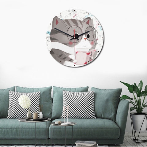 Cat Pattern Home Office Bedroom Decoration Acrylic Mute Wall Clock, Size : 28cm