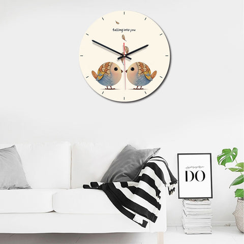 Birds Pattern Home Office Bedroom Decoration Acrylic Mute Wall Clock, Size : 28cm