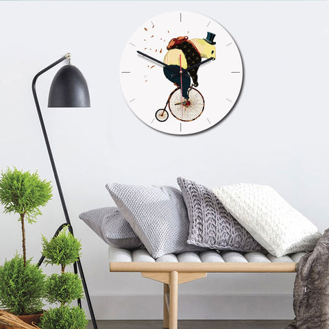 Riding Panda Pattern Home Office Bedroom Decoration Acrylic Mute Wall Clock, Size : 28cm