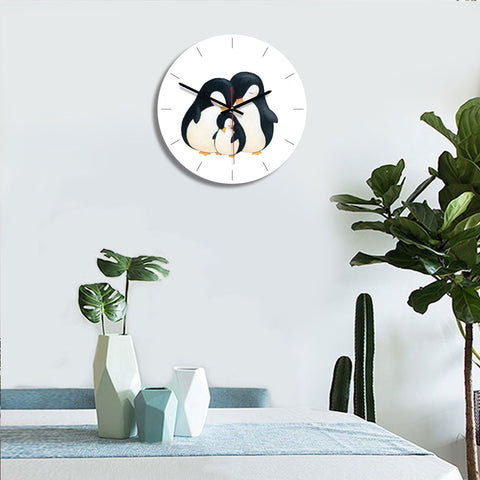 Penguin Family Pattern Home Office Bedroom Decoration Acrylic Mute Wall Clock, Size : 28cm