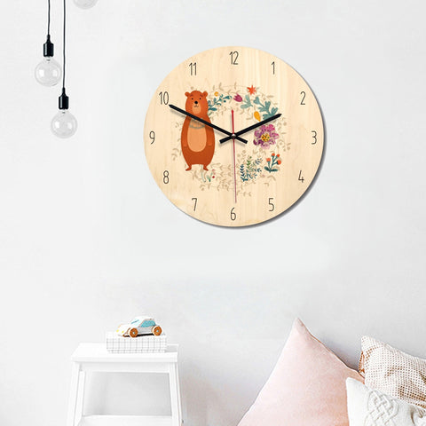Forest Style Bear Pattern Home Office Bedroom Decoration Wooden Mute Wall Clock, Size : 28cm