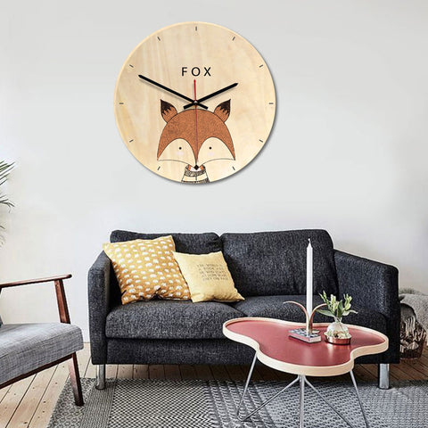 Fox Pattern Home Office Bedroom Decoration Wooden Mute Wall Clock, Size : 28cm