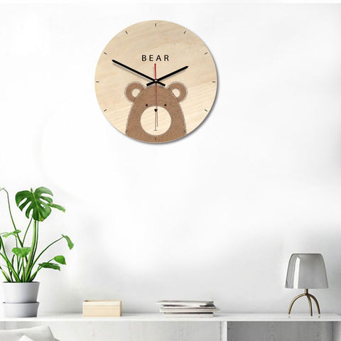 Bear Pattern Home Office Bedroom Decoration Wooden Mute Wall Clock, Size : 28cm