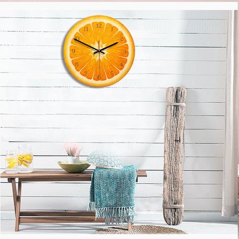Fruit Orange Pattern Home Office Bedroom Decoration Acrylic Mute Wall Clock, Size : 28cm