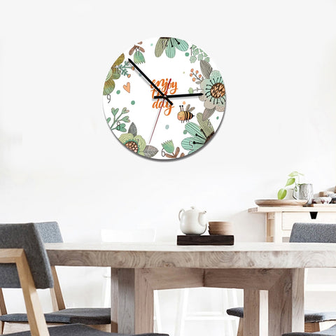 Forest Style Bee and Enjoy The Day Pattern Home Office Bedroom Decoration Acrylic Mute Wall Clock, Size : 28cm
