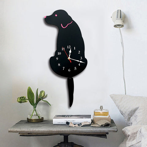 Home Office Bedroom Decoration Battery Operated Dog Shaped Wall Clock with Swinging Tails, Size : 42 x 18cm (Black)