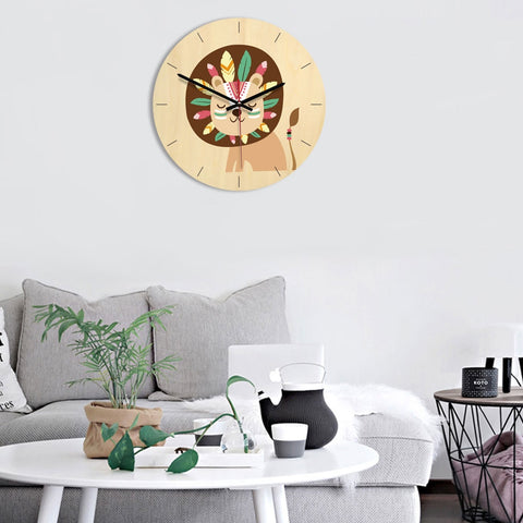 Indian Lion Pattern Home Office Bedroom Decoration Wooden Mute Wall Clock, Size : 28cm