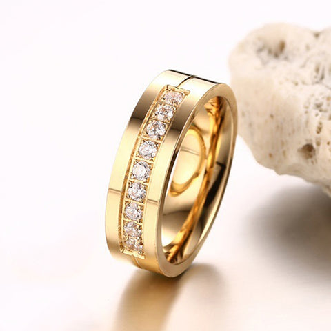 Fashion 18K Plating Female Golden Ring High Polished Stainless Steel + Cubic Zirconia Lovers Ring