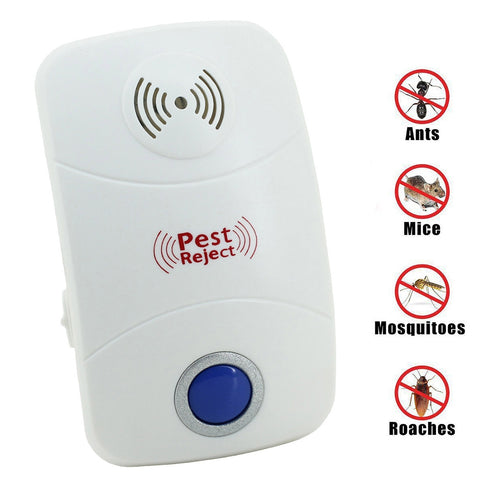 Electronic Ultrasonic Mosquito Rat Pest Control Repeller with LED Light, US Plug, AC90V-250V(White)