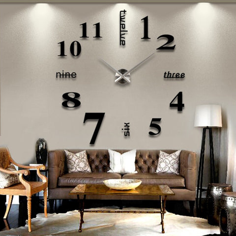 creative 3d mirror diy wall sticker clock, size: 120*120cm(black
