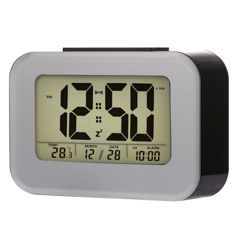Multi-functional Large Screen Smart Light LCD Alarm Clock with Time & Date & 12/24 Hours Setting (Black)