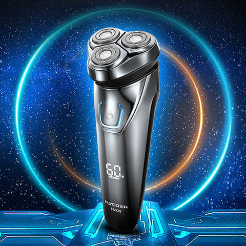 Voltage Universal Fit Triple Rotary Double Ring Blade Shaving Head Electric Rechargeable Shaver For Men, US Plug