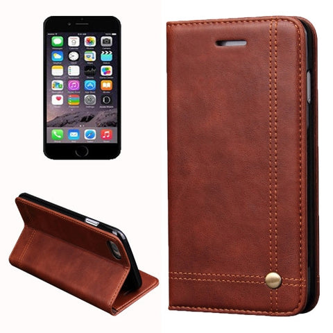 sale retailer a6457 89314 IPhone 7 Retro Crazy Horse Texture Magnetic Leather Case with Card Slot &  Holder & Wallet(Coffee)