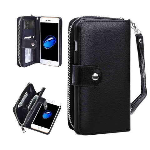 Buy Online  IPhone 7 Separable Litchi Texture Zipper Horizontal Flip Leather Case with Card Slots & Wallet & Photo Frame & Lanyard(Black) Apple Cases - MEGA Discount Online Store Ghana