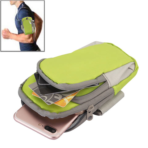 Buy Online  Universal Zipper Double Bag Multi-functional Sport Arm Case with Earphone Hole for iPhone X , iPhone, Samsung, HTC, Sony, Lenovo, Huawei, Xiaomi and other Smartphones, Internal Size: 17.5x10x3cm(Green Bags & Backpacks - MEGA Discount Online Store Ghana