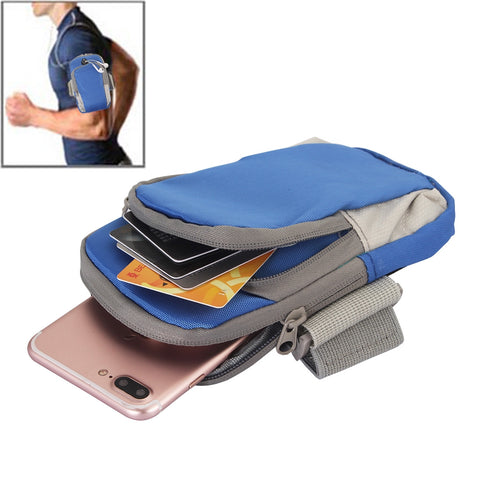 Buy Online  Universal Zipper Double Bag Multi-functional Sport Arm Case with Earphone Hole for iPhone X , iPhone, Samsung, HTC, Sony, Lenovo, Huawei, Xiaomi and other Smartphones, Internal Size: 17.5x10x3cm(Blue) Bags & Backpacks - MEGA Discount Online Store Ghana