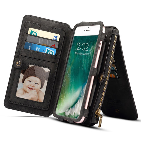 Dibase For iPhone X Multi-function Sheep Bar Material Horizontal Flip Leather Case with Holder & Card Slots & Photo Frame & Hook & Detachable Back Protective Case(Black) Apple Cases - MEGA Discount Online Store Ghana