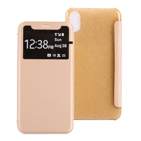 Buy Online  IPhone X/ XS PU + PC Horizontal Flip Leather Case With Call Display ID(Gold) Apple Cases - MEGA Discount Online Store Ghana