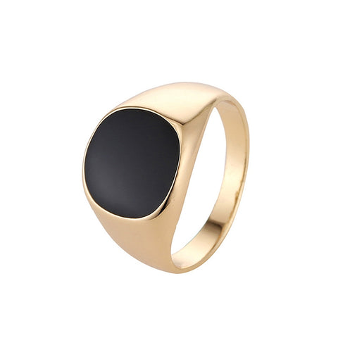 High-grade Classic Alloy High Polished Drip Oil Style Ring,(Gold)