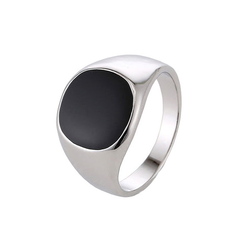 High-grade Classic Alloy High Polished Drip Oil Style Ring (Platinum)