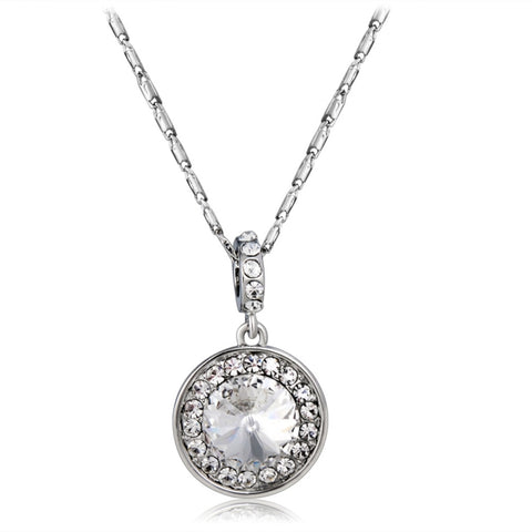 Simple Fashion Crystal Diamond Necklace Silver Mega Discount Store