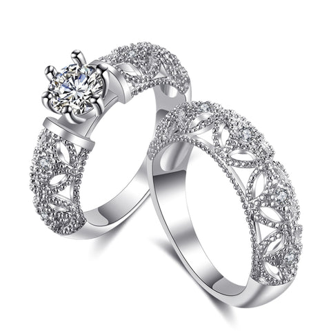 Fashion Stylish Zircon Hollow Set Ring Sweet Couple Ring (Silver)